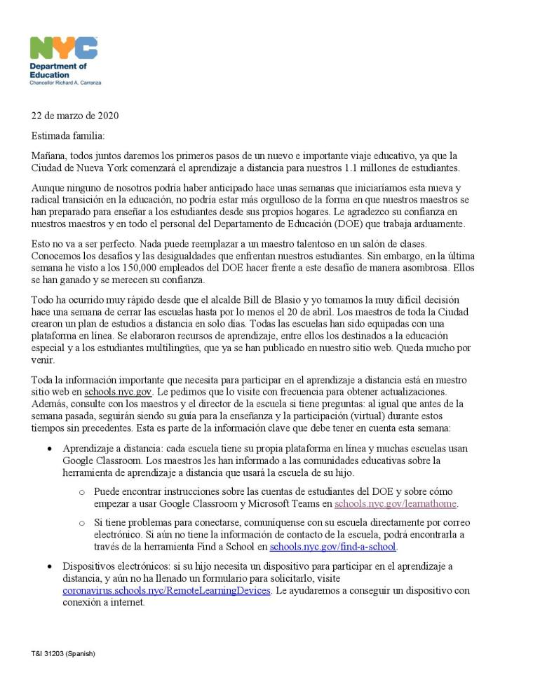Remote Learning Letter - Spanish -page-001
