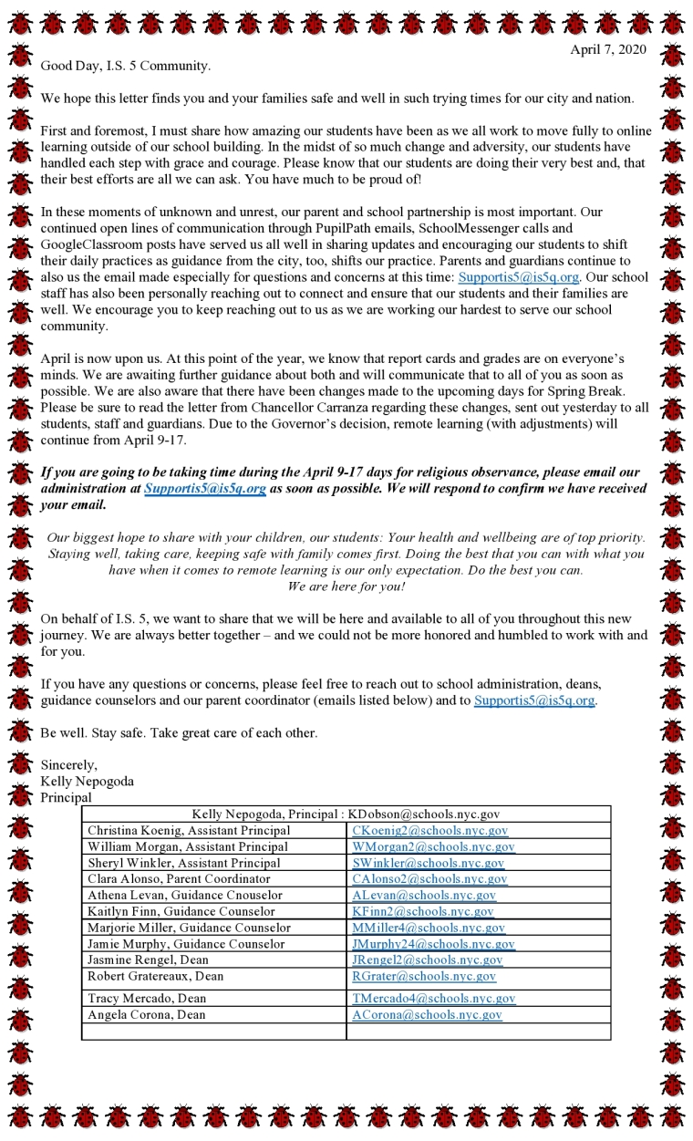 Letter to Parents April 7 - Remote Learning at I.S. 5 - Support for Students and Families in Coming Weeks-page0001